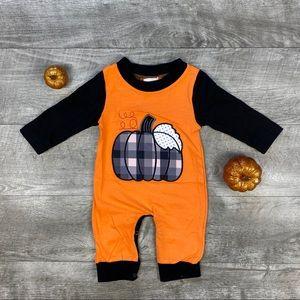 New boutique unisex Plaid Pumpkin applique Romper